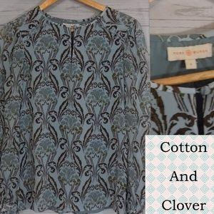 Tory Burch Blouse Keyhole Silk Blue Floral  sz 0